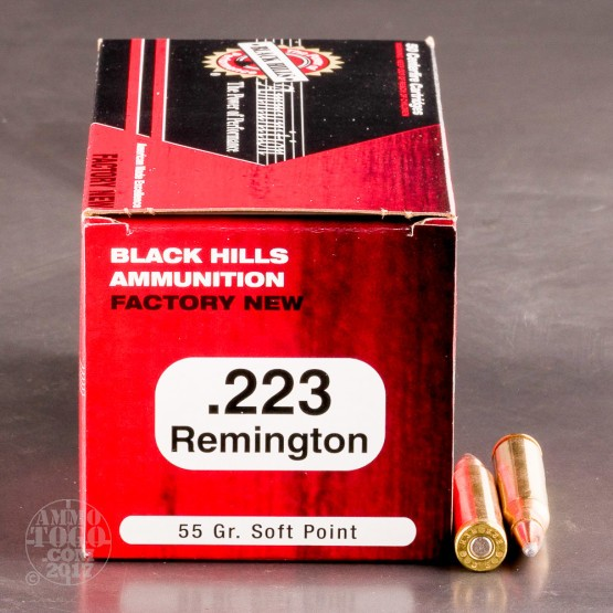 50rds - 223 Black Hills 55gr. Soft Point Ammo