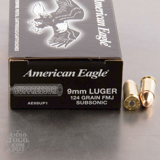 50rds - 9mm Luger Federal American Eagle Suppressor 124gr. FMJ Subsonic Ammo