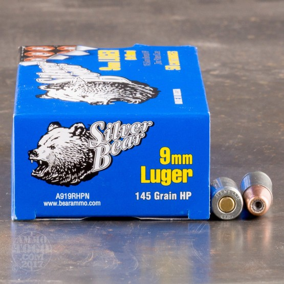 50rds - 9mm Silver Bear 145gr. HP Ammo