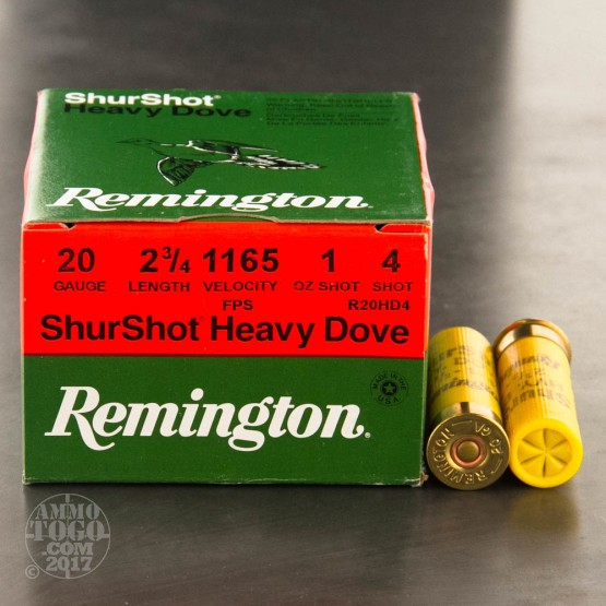 "250rds - 20 Gauge Remington ShurShot 2 3/4"" 1oz. #4 Shot"