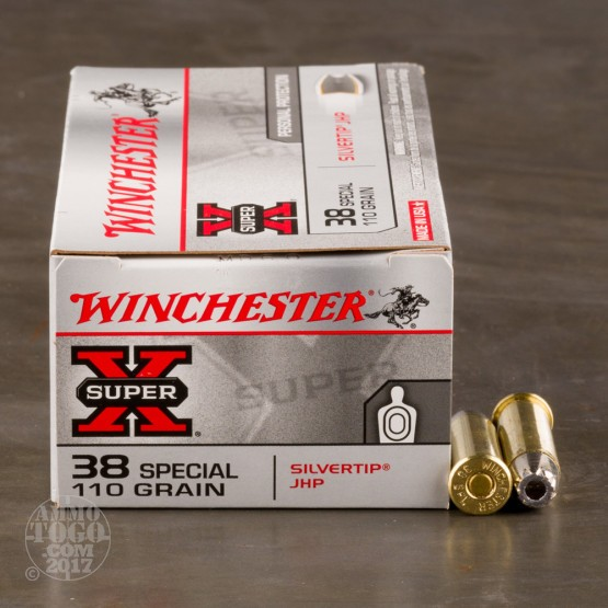 50rds - 38 Special Winchester 110gr. Silvertip Jacketed Hollow Point Ammo