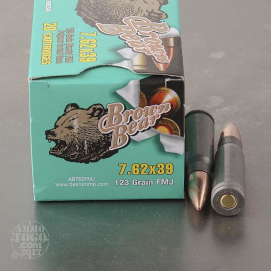 20rds - 7.62x39 Brown Bear 123gr. Lacquer FMJ Ammo