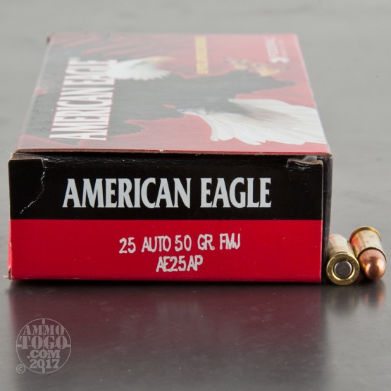 50rds - 25 Auto Federal 50gr. Full Metal Jacket Ammo