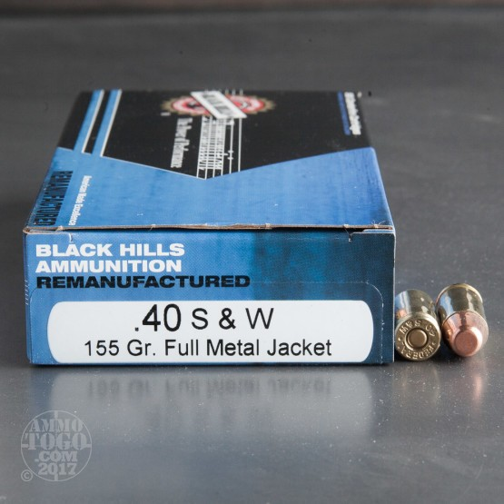 50rds - 40 S&W Black Hills 155gr. Remanufactured FMJ Ammo