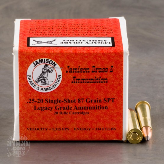 20Rds - 25-20 Single-Shot - Jamison - 87 gr SPT