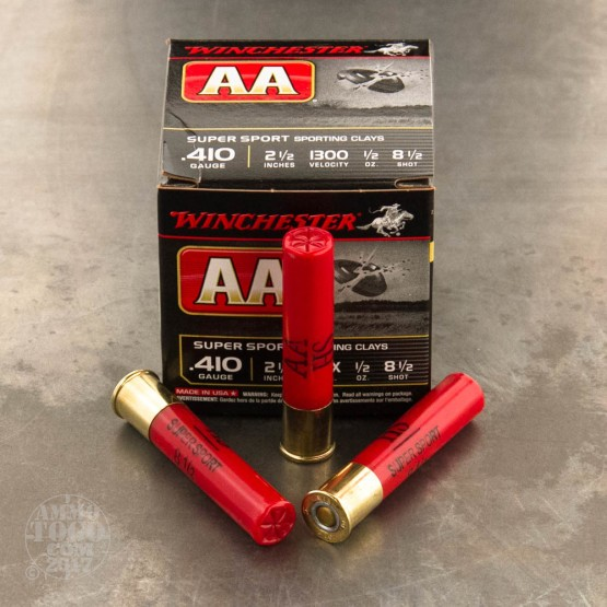 """25rds - 410 Bore Winchester AA Sporting Clays 2-1/2"""" 1/2 oz. #8.5 Shot Ammo"""
