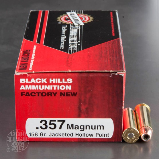 50rds - 357 Mag Black Hills 158gr. Jacketed Hollow Point Ammo