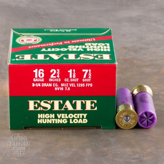 "250rds - 16 Gauge Estate HV Hunting 2 3/4"" 3 1/4 Dram 1 1/8oz. #7 1/2 Shot Ammo"