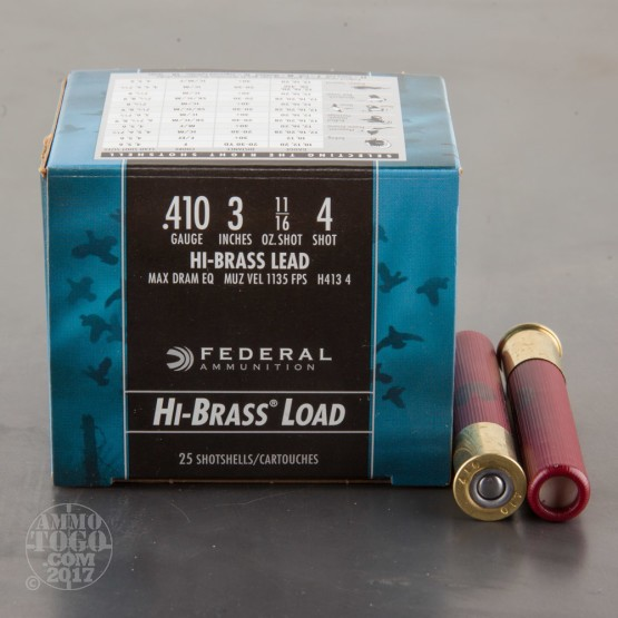 "25rds - .410 Gauge Federal Hi-Brass Game Shok 3"" 11/16oz. #4 Shot Ammo"