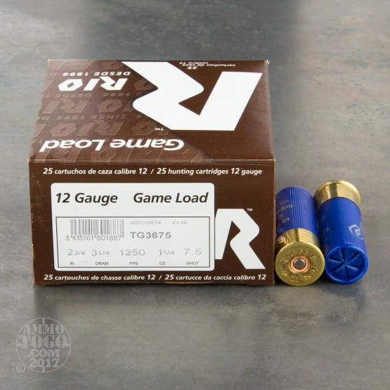 "25rds - 12 Gauge Rio Game Load 2 3/4"" 1 1/4oz. #7 1/2 Shot Ammo"