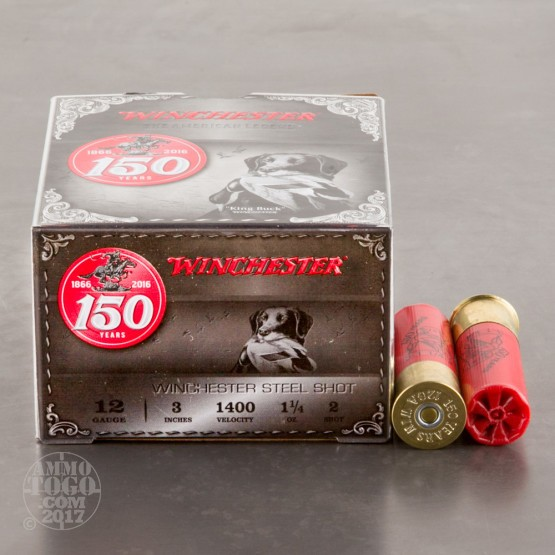 "25rds - 12 Gauge Winchester 150th Anniversary Commemorative 3"" 1-1/4 Ounce #2 Steel Shot Ammo"