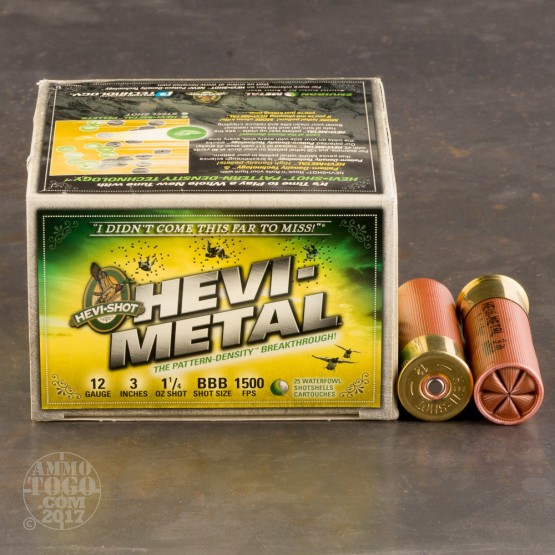 "250rds - 12 Ga. Hevi-Shot 3"" 1 1/4oz Waterfowl #BBB Hevi-Metal Ammo"