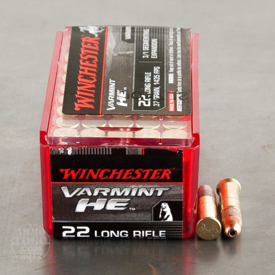 500rds - 22LR Winchester Varmint HE 37gr. 3/1 Segmenting Expansion HP Ammo