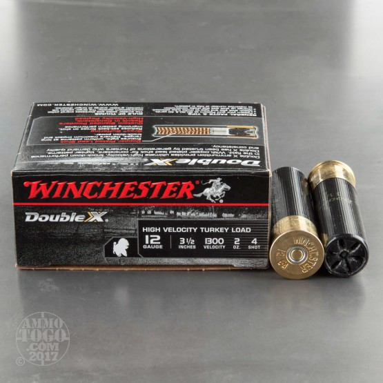 "10rds - 12 Gauge Winchester Double X 3 1/2""  2oz.  #4 Turkey Load Ammo"