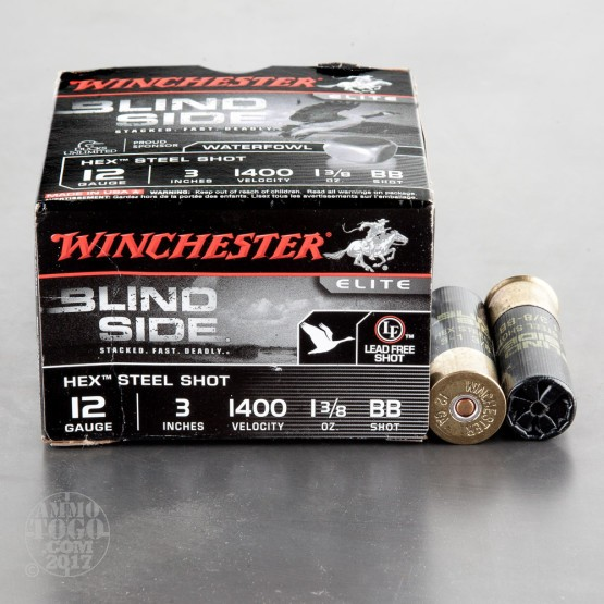 "25rds - 12 Ga. Winchester Elite Blind Side 3"" 1 3/8oz. BB Hex Steel Shot Ammo"