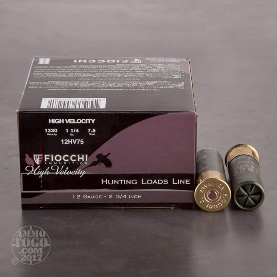"250rds - 12 Gauge Fiocchi Optima Specific HV 2 3/4"" 1 1/4 oz. # 7 1/2 Shot Ammo"