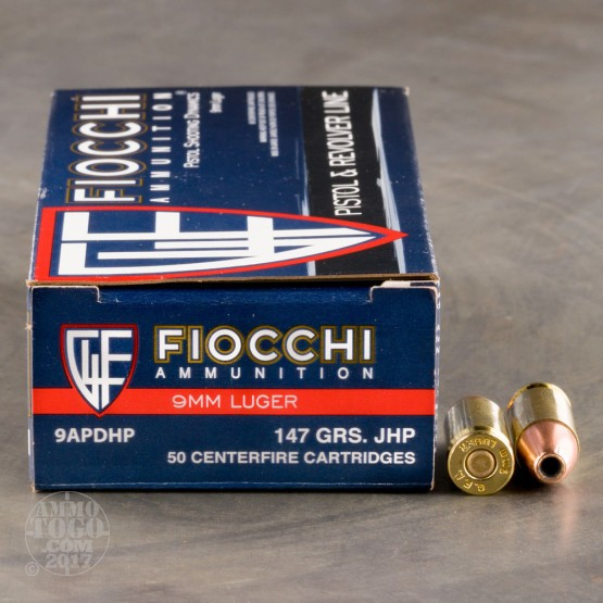 50rds - 9mm Fiocchi 147gr. Jacketed Hollow Point Ammo