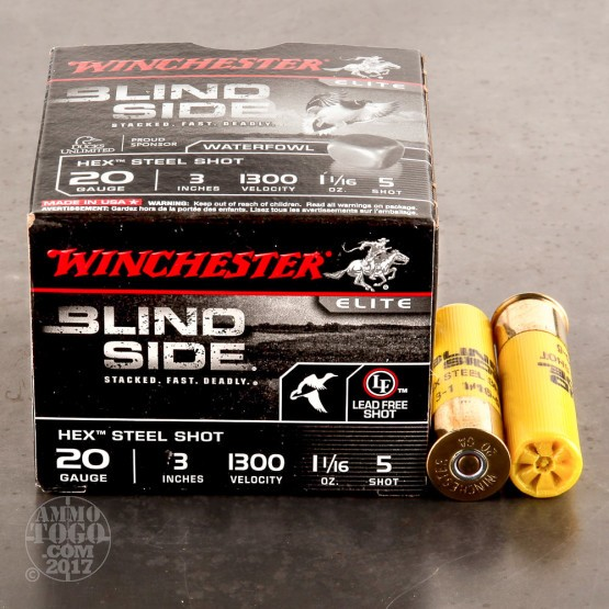 "25rds - 20 Gauge Winchester Blind Side 3"" 1 1/16oz. #5 Steel Shot Ammo"