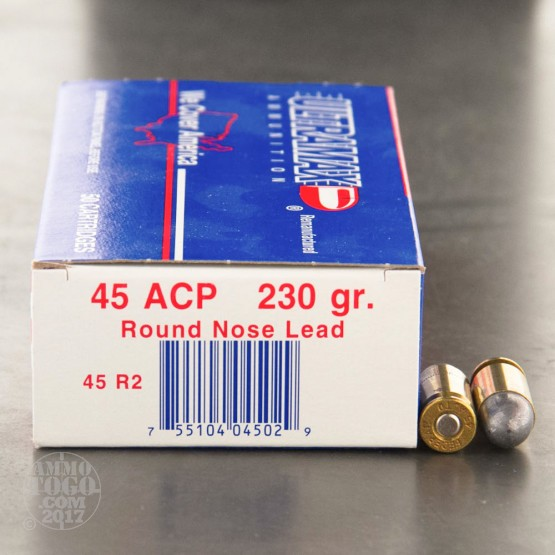250rds - 45 ACP Ultramax 230gr. LRN Remanufactured Ammo