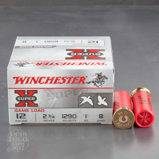 "250rds - 12 Gauge Winchester Super-X Game Loads 2 3/4"" 1oz. #8 Shot Ammo"