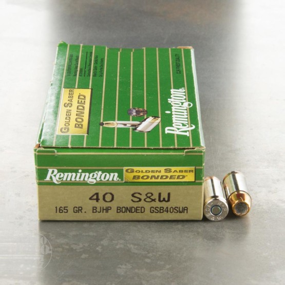 50rds - 40 S&W Remington Golden Saber Bonded 165gr. JHP Ammo