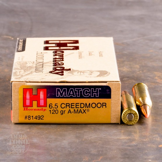 creedmoor ammo 20 rounds of 120 grain a max match by hornady. Black Bedroom Furniture Sets. Home Design Ideas