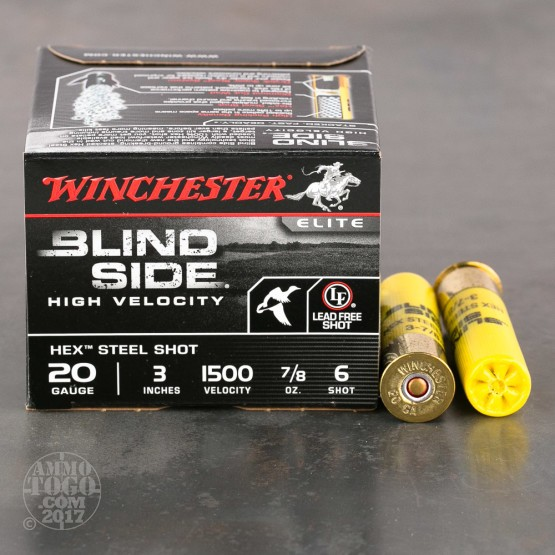 """25rds - 20 Gauge Winchester Blind Side Waterfowl 7/8 Ounce 3"""" #6 Hex Steel Shot Ammo"""
