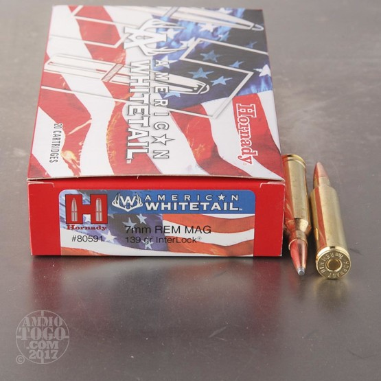 20rds - 7mm Rem Mag Hornady American Whitetail 139gr. InterLock SP Ammo