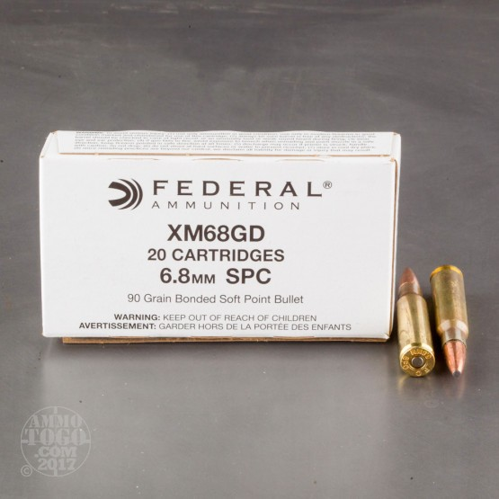 500rds - 6.8 Rem SPC Federal XM68GD 90gr. Gold Dot Bonded Soft Point Ammo