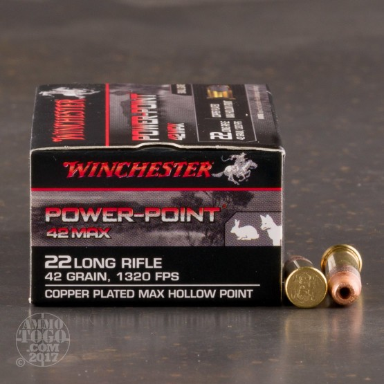 500rds - 22LR Winchester Power-Point 42 Max CPHP Ammo