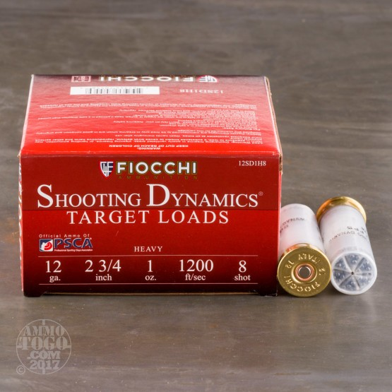 "25rds - 12 Gauge Fiocchi Heavy Target Shooting Dynamics 2 3/4"" 1oz. #8 Shot Ammo"