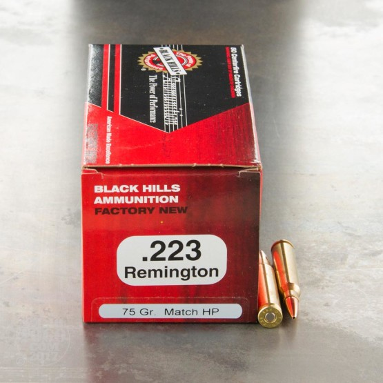 500rds - 223 Black Hills 75gr. Heavy Match Hollow Point Ammo