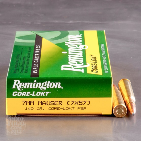 20rds - 7mm Mauser Remington 140gr. Core-Lokt PSP Ammo