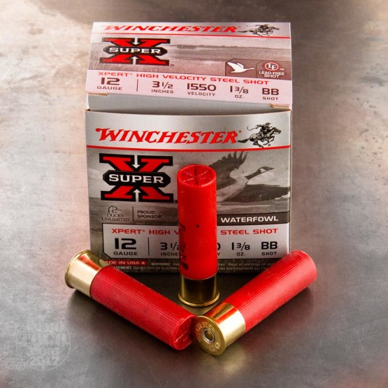 "25rds – 12 Gauge Winchester Super-X High Velocity 3-1/2"" 1-3/8 oz. #BB Ammo"