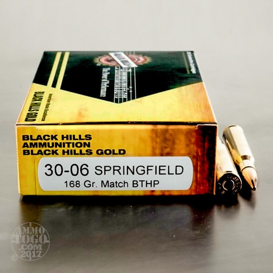20rds - 30-06 Black Hills Gold 168gr. Match Boat Tail Hollow Point Ammo