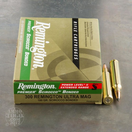20rds - 300 RUM Remington Premier 180gr. Scirocco Bonded Polymer Tip Power Level 2 Ammo