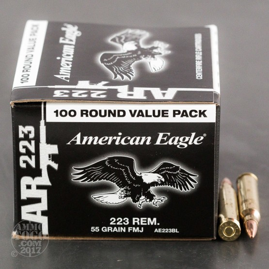 100rds - .223 Federal American Eagle AR223 55gr. FMJ Value Pack Ammo