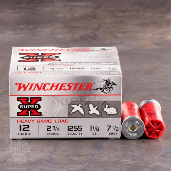 "25rds - 12 Gauge Winchester Super-X Heavy Game Load 2 3/4"" #7 1/2 Shot Ammo"