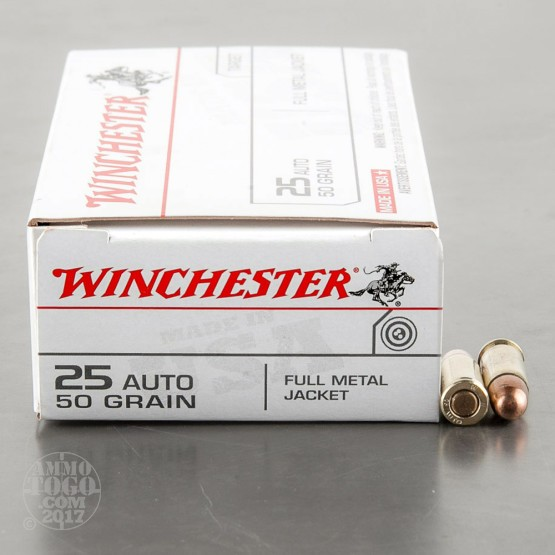 50rds - 25 Auto Winchester 50gr. FMJ Ammo