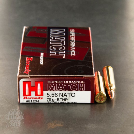 200rds - 5.56 Nato Hornady Superformance 75gr. Boattail Hollow Point Ammo