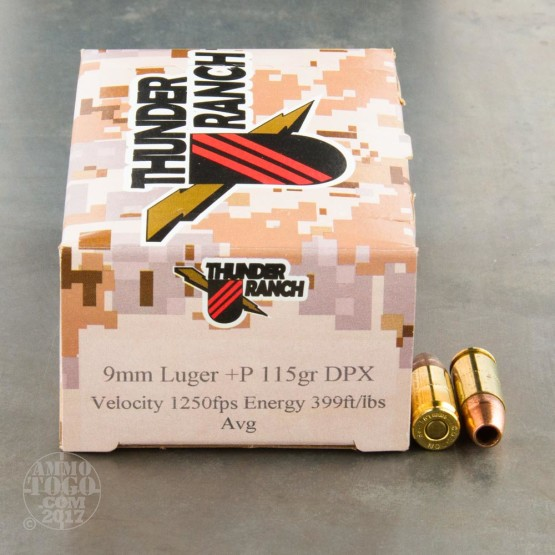 20rds - 9mm Corbon Thunder Ranch DPX 115gr. +P HP Ammo