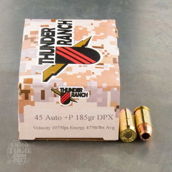 20rds - 45 ACP Corbon Thunder Ranch DPX 185gr. +P HP Ammo