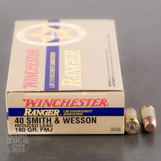 50rds - 40 S&W Winchester Ranger 180gr. Reduced Lead FMJ Ammo