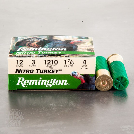 "10rds - 12 Gauge Remington Nitro Turkey 3"" 1 7/8 oz. #4 Shot Ammo"