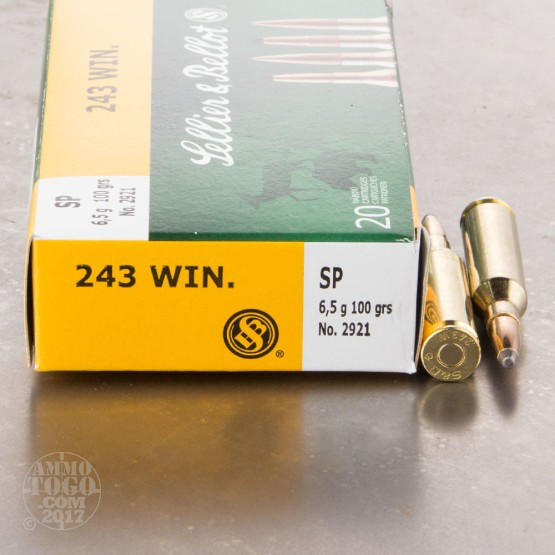 20rds - .243 Win. Sellier & Bellot 100gr SP Ammo