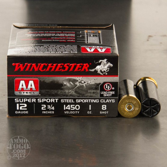 """25rds - 12 Gauge Winchester AA Steel Sporting Clay 2-3/4"""" 1 oz. #8 Shot Ammo"""