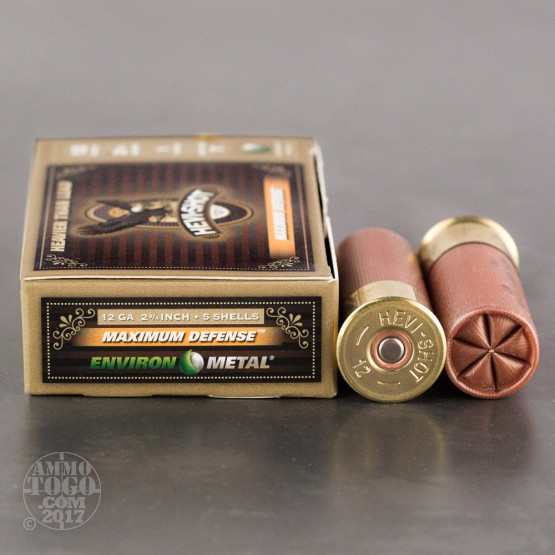 "5rds - 12 Gauge Hevi-Shot Maximum Defense 2 3/4""  1oz. #T Shot Ammo"