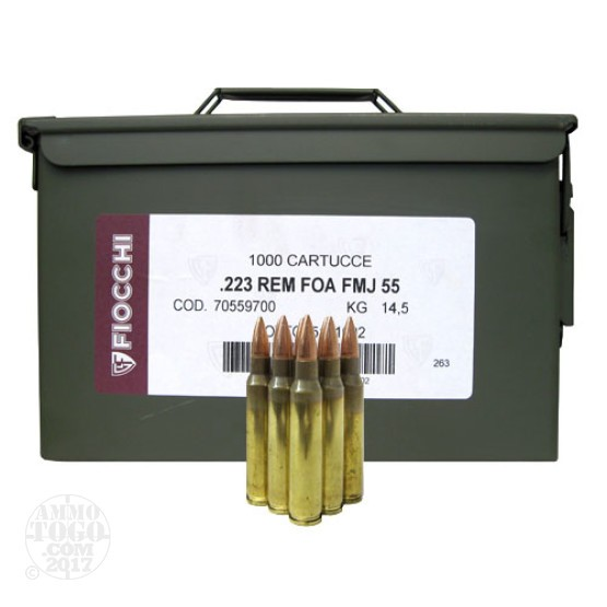 1000rds - .223 Fiocchi 55gr. FMJ Ammo (In Can)