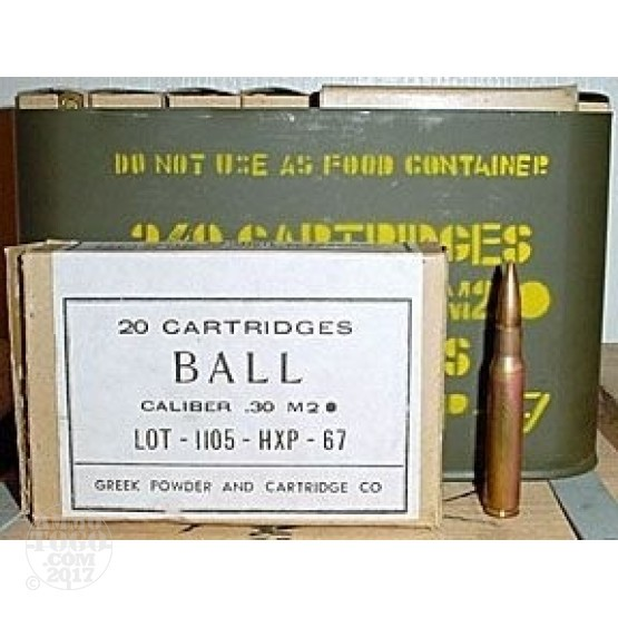 960rds - 30-06 Greek HXP 150gr. M2 Ball Ammo in Spam Cans
