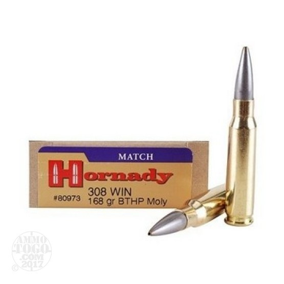 20rds - .308 Hornady Match 168gr. Moly Coated Boattail HP Ammo